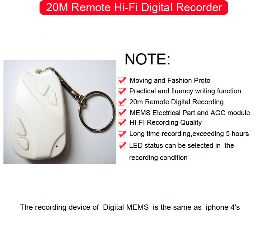20M Remote Hi-Fi Digital Recorder pick-up element is the same as apple component supplier
